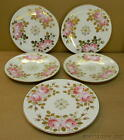 5 ANTIQUE DINNER PLATES GERMAN DECORATIVE HAND PAINTED PINK ROSES GOLD LEAVES