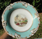 ANTIQUE OLD PARIS FRENCH PORCELAIN handpainted pedestal COMPOTE - Turquoise/Gold