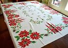 VINTAGE 1950s CHRISTMAS TABLECLOTH HOLLY CANDLES POINSETTIAS PINECONES LONG