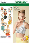 NEW SIMPLICITY PATTERN/4 PLUS SIZE 1950's STYLE VINTAGE HALTER TOPS/14-22
