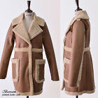 BOSROOM Women winter genuine leather lamb curly fur shearling long coat beige M