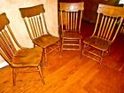 Set of 4 original 1880's antique arrow back pressed oak saloon / kitchen chairs