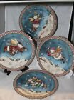 4 Sakura SNOW ANGEL VILLAGE Mumm SALAD DESSERT PLATES snowman Christmas holiday