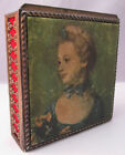 VTG JAPAN TRINKET BOX VICTORIAN SILK PAINTING PORTRAIT LID FAUX VELVET LINED **