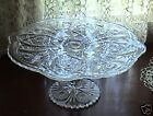Antique EAPG Pedestal Glass Cake Plate Stand Pressed Glass Clear