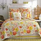 7 PC Dena Home FULL / QUEEN QUILT SET ~ Meadow ~ Orange Yellow Pink Green Floral