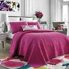 3 PC BlueBellGray FULL/QUEEN COVERLET SET ~ Pink White Floral~ Cherry Blossom ~