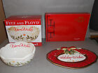 Fitz And Floyd Damask Holiday Wishes Sentiment Tray + Warm Wishes Sentiment Bowl