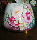 ANTIQUE HANDPAINTED VIENNA AUSTRIA BULBOUS VASE RED, PINK YELLOW ROSES