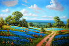 Hand painting Texas Bluebonnets landscape Oil painting on canvas 24X36 Inch T01