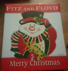Fitz And Floyd Merry Christmas Snowman Canape Plate 2006 New In Box