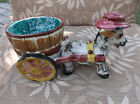 VTG 1950'S HAND PAINTED CERAMIC DONKEY & CART PLANTER-NUMBERED MADE IN ITALY