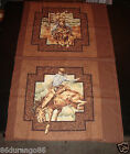 COWBOYS OLD WEST ROPING RODEO SEWING QUILTING FABRIC PATTERN PANEL PILLOW