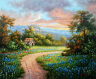 Hand painting Texas Bluebonnets landscape Oil painting on canvas 20X24 Inch T02
