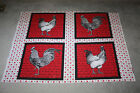 COUNTRY FRENCH COTTON FABRIC 4 SQUARES ROOSTERS RED, BLACK & WHITE