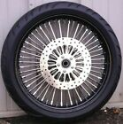 Black 21 35 52 Fat Spoke Mammoth Front Wheel 120 Tire Package 2008 2018 Touring