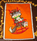 VINTAGE PANEL TIME BY WESCO RELTEX CAT NAP ROCKING CHAIR WALL FABRIC PANEL QUILT
