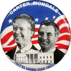 Official 1980 Carter Mondale EARNED YOUR TRUST Jugate Campaign Button (1976)