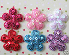 US SELLER 60 pcs x 1 Mix Padded Sequined Felt Flower Appliques for Bows ST506
