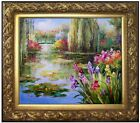 Framed, Claude Monet Water Lily Pond Repro 2, Hand Painted Oil Painting 20x24in