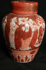 Antique Meji Pottery Satsuma Immortals Tea Jar Potpourri Ginger Kutani Pottery