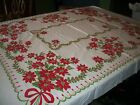 VINTAGE CHRISTMAS POINSETTIA TABLECLOTH 52 X 60 FINE CONDITION FREE SHIPPING
