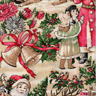 Christmas Old World Santa Bells 100% Cotton Fabric - 3 yds