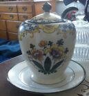 Vtg hand painted Noritake Japan Jam pot,dish,jar with spoon & plate