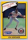 1990  LOU WHITAKER - Kenner Starting Lineup Card - Detroit Tigers- (YELLOW)