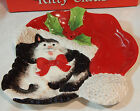 Fitz & Floyd Christmas Kitty Claus Figure Holiday Party Table Canape Plate Cat