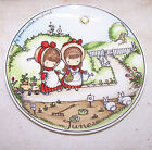 Joan Walsh Anglund Plate - Girls Planting Garden Flowers Watering Can June 1966