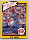 1990  ROB DIBBLE - Kenner Starting Lineup Card - Cincinnati Reds - (YELLOW)