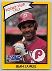 1990  JUAN SAMUEL - Kenner Starting Lineup Card - PHILADELPHIA PHILLIES -(Yellow