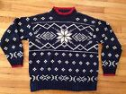 Ralph Lauren Hand Knit Winter Ski Snowflake Sweater Sweat Shirt Snow Vtg Blue LG