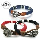 MENDINO Mens Womens Leather Bracelet Braided Cord Rope Cuff Bangle Wristband