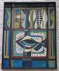 MID CENTURY CUBISM PAINTING ABSTRACT POP YUKON FISH MODERNISM SIGNED VINTAGE