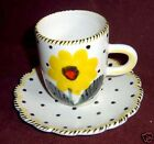 Italy Scallop Yellow Flower Black Dot Cup Saucer D217