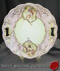 Large Antique Hand Painted and Beaded Porcelain Anemone Handled Cake Plate
