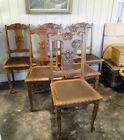 6 Antique French Dining Chairs Carved  Faux Leather Seats ~ Oak Cabriole legs