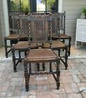 SET 6 Antique ENGLISH Oak Barley Twist Dining Chair Carving + leather seats