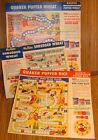 SGT. PRESTON Quaker CEREAL BOX GAMES LOT 1949 w/panels attached RADIO Premiums