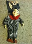 Nice clown mime puppet marionette white face houndstooth vintage Peter Puppet?
