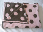 COCALO Pink Brown Polka Dot Chenille Sweater Knit Baby Blanket Lovey7