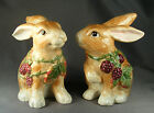 DISCONTINUED 2008 FITZ & FLOYD ESSENTIALS BLACKBERRY RABBIT SALT & PEPPER SHAKER