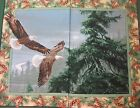 Wild Wings Eagle Wall Panel Quilt Fabric 2 Tops Pine cone tree cotton new craft