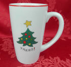 Gourmet Fitz and Floyd Happy Holidays Trees Christmas Tall Latte Mug Coffee Cup