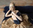 RARE ANTIQUE FRENCH PORCELAIN HALF DOLL LADY FIGURE ON BOX CONTAINED SOFA BED 2