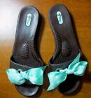 OKA Bee Okabashi M/L 8-9 Brown Rubber Slide Sandals Aqua White Polka Dot Bows