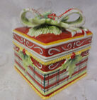 Vintage Fitz & Floyd Christmas Holly Tree Ceramic Centerpiece Present Gift Box