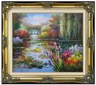 Framed, Claude Monet Water Lily Pond Repro II, Hand Painted Oil Painting 20x24in